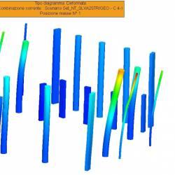 Deformate dei pilastri per la combinazione SISMAX1 positiva