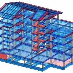 Modello strutturale edificio vista anteriore