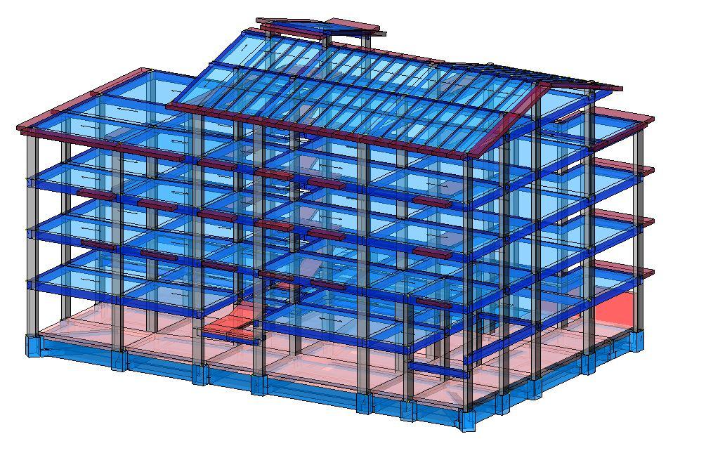 Modello strutturale edificio vista posteriore