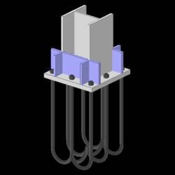 Particolare nodo colonna plinto HE240B - SteelNode