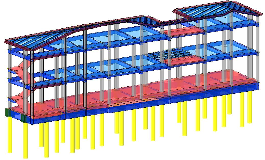 Modello strutturale aule IperSpace - posterior