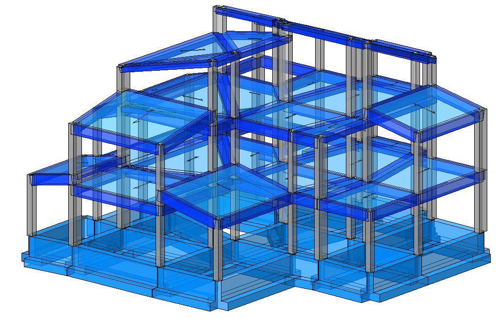 Modello strutturale edificio - posteriore